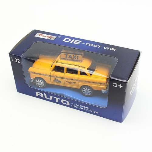 1:32 Diecast Mini Yellow Flashing Musical Pull Back Taxi Alloy Car Model with Sound Light Toys For Children Kids Cars Toys