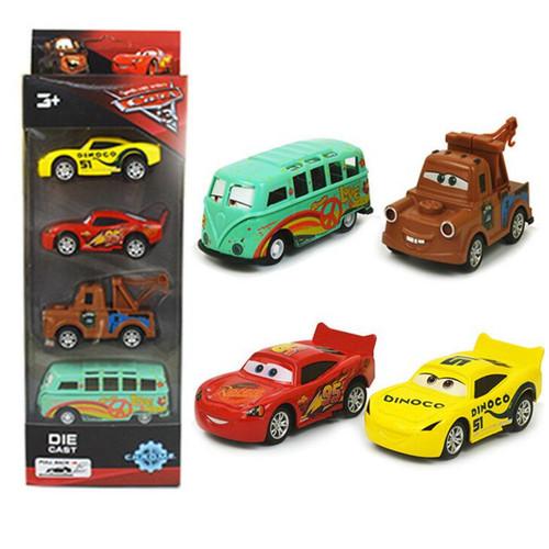 Disney Pixar Cars 3 1:55 McQueen Cruz Ramirez Mater Diecast Metal Alloy Model Toy Cars Pixar Cars 3 Mini Toys For Kids 4Pcs/Set