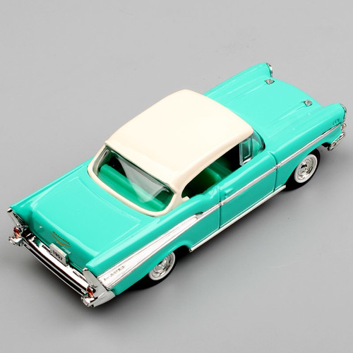 Children's 1/43 Scale Brand Antique 1957 Chevrolet Bel Air coupe sedan metal diecast autoart cars Van models toys replica Green
