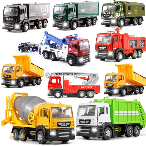 1:50 Alloy Car Series Tow Truck /Trailer Garbage Car/ Construction/Fire Truck/Transport Vehicles With light Sound For Kids Toys