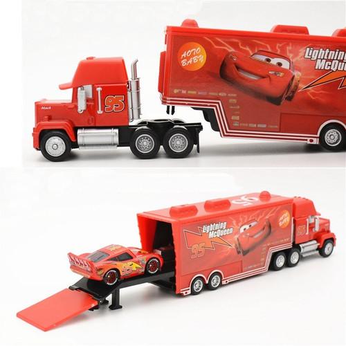 Disney Pixar Cars 2PCS Truck+Car  METAL Diecast car Disney #95 McQueen Mack Truck The King Chick Hick  toys for Children boys