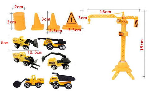 13Pcs / lot New pull back engineering truck set construction vehicles and cranes Barricade children's gift toys