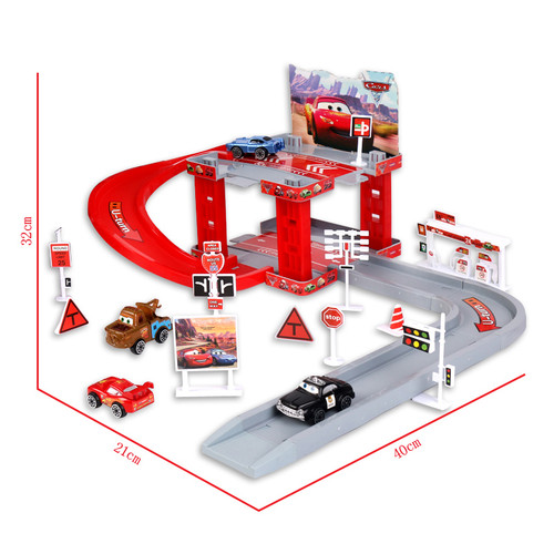 Disney Pixar Cars Lightning Mcqueen Mater Track Parking Lot Plastic Diecasts Toy Model Car Toys Birthday Gift For Childrens