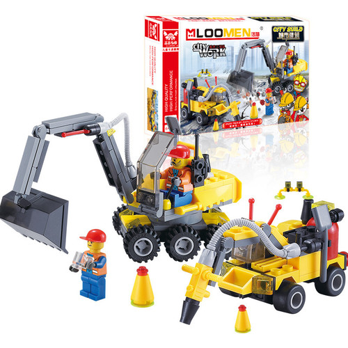 J319 Gift For Kids!196pcs DIY City Engineering Team Assemble Toy Excavator Small Particles Building Blocks Early Educational Toy