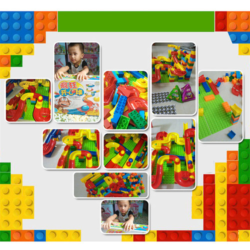 quality educational DIY Construction Marble Race Run Maze Balls Track Building Blocks Colorful Kids Children Block Toys Gifts