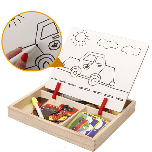 BOHS Five Patterns Magnetic Puzzle and Drawing Toys, Vehicles, Circus, Occupations Dress Up, Face, Palace Building