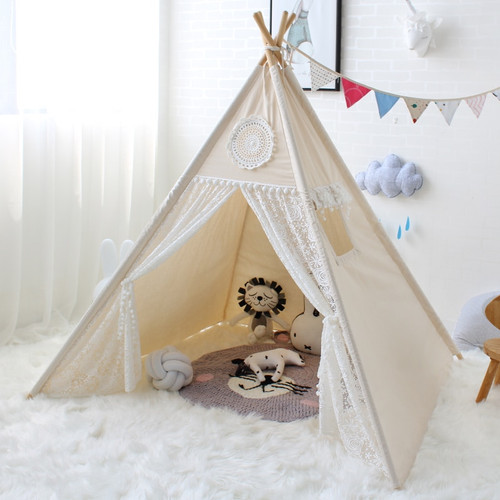 Children Tent Four Poles Cotton Lace Tipi Tent For Girl Play Tent For Kid Wigwam Teepee Baby Cabin Princess Castle Birthday Gift