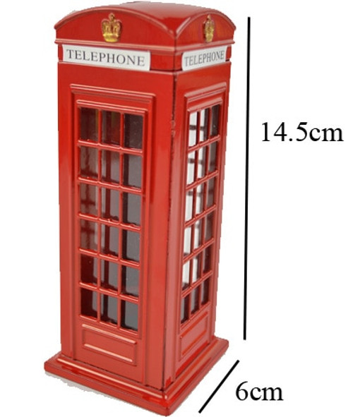 Children Gift Toy British English Metal Save Money Coin  Piggy London Street Red Telephone Booth Bank Souvenir Model Box Jar
