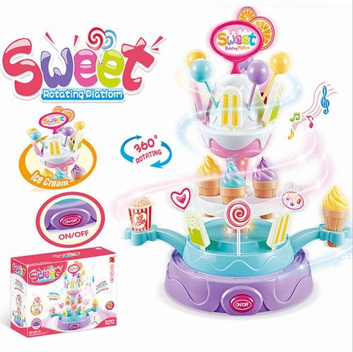 Hot new children's toys acousto-optic rotary candy plate, ice cream Mini candy car, girls ice cream supermarket toys
