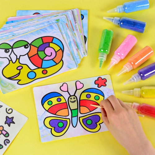 Children's creativity DIY handmade color sand art, creative painting, toys, sandpaper crafts, children's toys, birthday gifts.