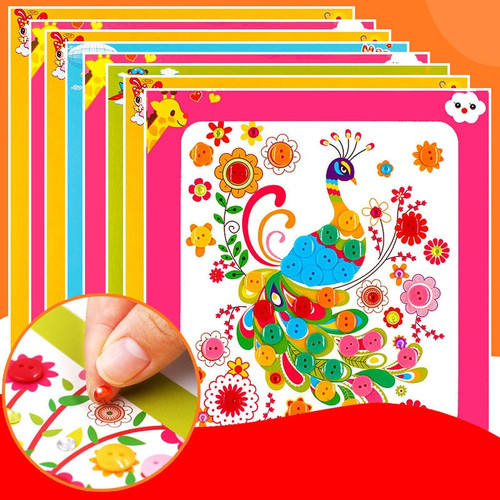 Novel and interesting DIY Button Stickers Kids Handmade Painting Craft Kit Learning Educational Drawing Board Toys For Children
