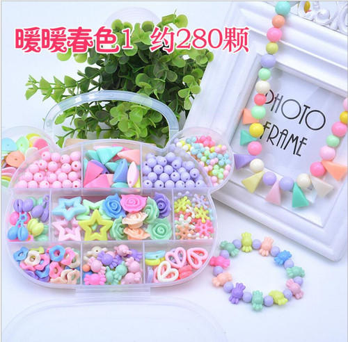 Girl DIY Toys String Beads Make Up Puzzle Toys Jewelry Necklace Bracelet Building Kit Educational Block Toy For Children