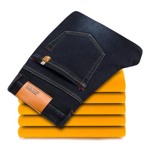 2018 Winter New Men's Warm Jeans Business Casual Elasticity Thick Slim Denim Pants Brand Trousers Black Plus Size 40 42 44 46