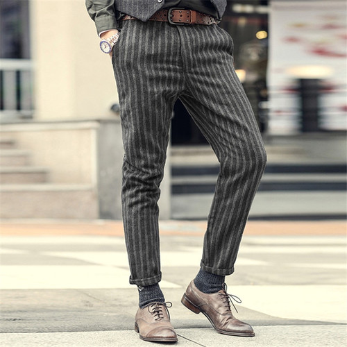 2018 New England Style Spring Men Slim Fit Straight long Pants Male Casual stripe skinny casual pants business Fashion trousers