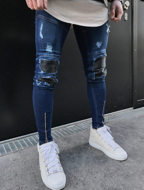 QoolXCWear Famous Brand Designer Slim Fit Ripped Jeans Men Mens Distressed Denim Joggers Knee Holes Washed Destroyed Jeans