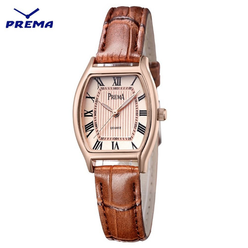 Oval Dial Design Women Watches Luxury Fashion Dress Quartz Watch Popular PREMA Brand Brown Ladies Leather Wristwatch Dress Watch