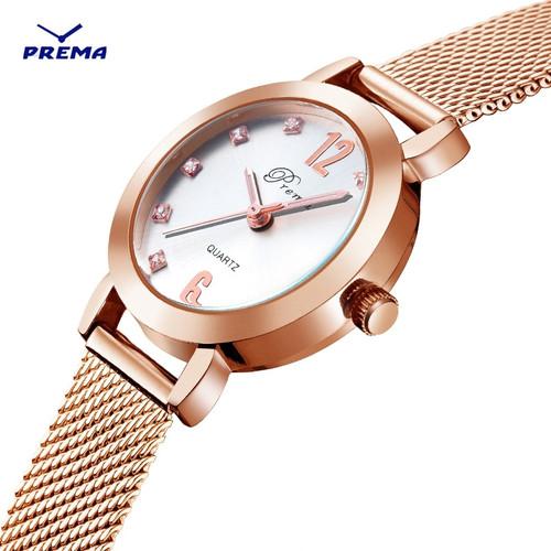 PREMA Brand Fashion Silver And Gold Mesh Band Creative Wrist Watch Casual Women Quartz Watches Gift Relogio Masculino