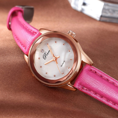 PREMA Luxury Brand Fashion Ladies Watch 2019 New Chronograph Sport Dress Rose Gold Quartz Wristwatch Red Leather Women Watches