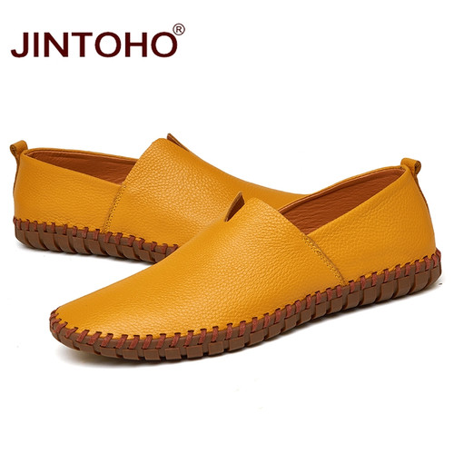 JINTOHO Big Size Men Genuine Leather Shoes Fashion Slip On Shoes For Men Italian Leather Men Loafers Luxury Brand Men Shoes