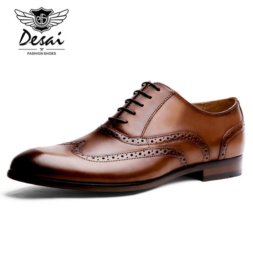 DESAI Brand Full Grain Leather Men Oxford Shoes British Style Retro Carved Bullock Formal Men Dress Shoes Size 38-43