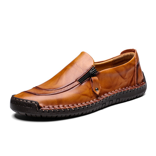 2018 New Sping Autumn Mocassin Fashion Casual Flats Cowhide Genuine Leather Men Loafers Outdoor Driving Shoes With Zipper