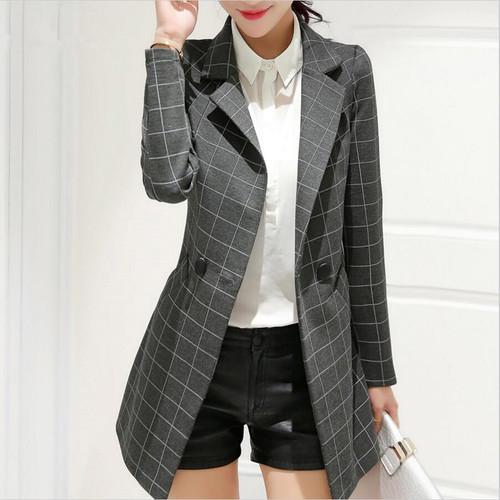 POENFLY  blazer 2018 spring autumn new blazer women jacket slim medium-long plaid long-sleeve casual suit blazer Female