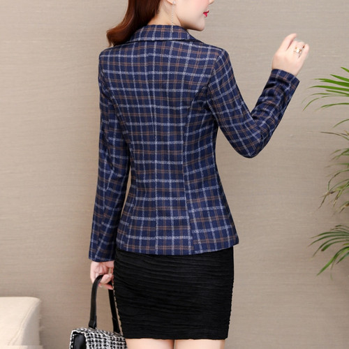 PEONFLY Fashion New Women Vintage Long Sleeve Plaid Blazers Jacket Female Single Button Pockets Elegant Slim Coat Autumn Winter