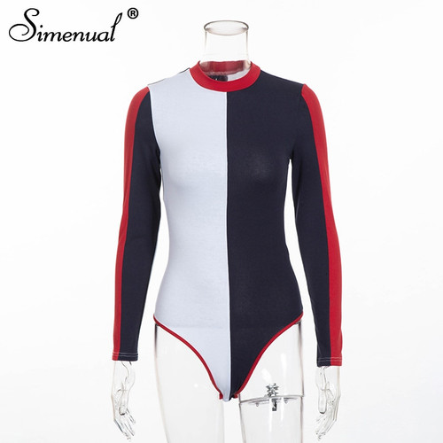 Simenual 2018 Autumn patchwork bodysuit women clothing fashion streetwear long sleeve bandage sexy bodysuits female one piece