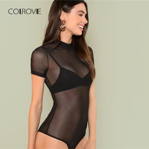 COLROVIE Mock Neck Sheer Mesh Black Bodysuit 2018 Summer New Mid Waist Sexy Bodysuit Short Sleeve Stretchy Transparent Bodysuit