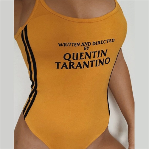 Body Tarantino Sexy Bodysuits 2018 Summer Women O-Neck Bodycon Skinny Jumpsuits Romper Button Yellow Letter Print Bodysuit S-XL