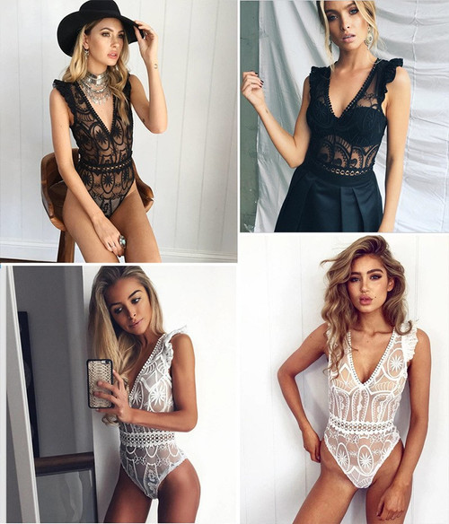 Sexy Lace Bodysuit Women Fashion Hollow Out Black Mesh Jumpsuit Stretchy Playsuit Romper Body Feminino Overalls