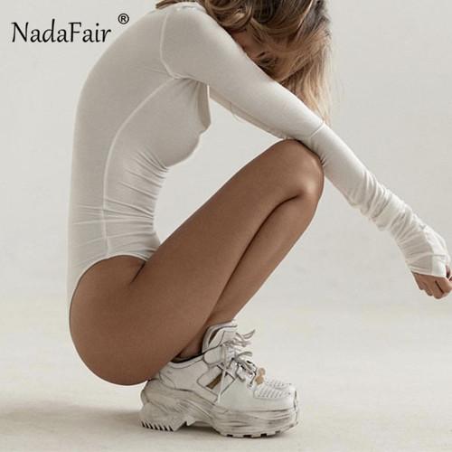 Nadafair Long Sleeve Turtleneck Bodysuit Women Skinny Autumn Winter Romper Jumpsuit Streetwear Black White Neon Body Suit Female