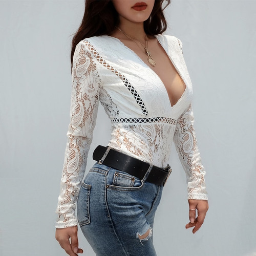 Sweetown Long Sleeve Lace Bodysuit Elegant Shirt Women White Spring Summer 2019 Body Mujer Sexy Transparent Deep V Neck Bodysuit