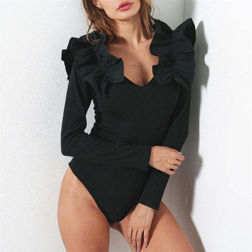 FREE OSTRICH 2018 Bodysuit Women Ruffles Long Sleeve Womens Sexy Bodysuit Rompers Body Macacao Feminino Oct11