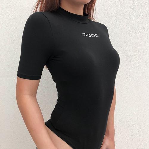 HEYounGIRL Bodycon Black Women Bodysuit Summer Cotton Bodysuits Print Body Feminino Short Sleeve Casual Elegant Jumpsuit Rompers