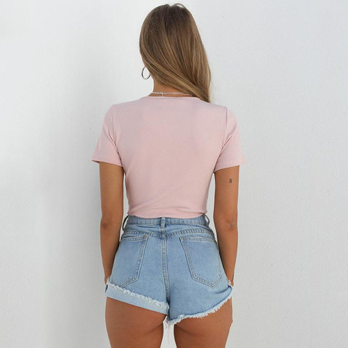 2018 New Women Sexy Button Striped Hollow Out Body Suit Playsuit Slim Fit Short Sleeve Solid Color Pink White Jumpsuit