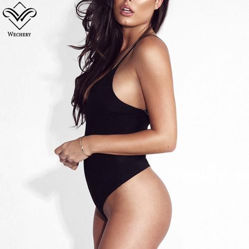 Wechery Deep V Neck Sext Sleeveless Bodysuits Backless Regular Tops Out of Shoulder Fashion Cotton Bodysuits Women body feminino