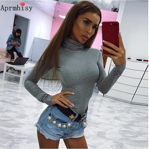 Aprmhisy 2017 Autumn Winter bodysuit Women Long Sleeve Solid Slim jumpsuit Black Sexy body feminino Casual overalls