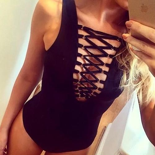 2018 hot sale sexy Backless Black red Bodysuits femme body top Women Sleeveless Beachwear romper lace up Slim Cami bikini bather
