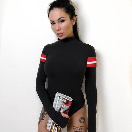 HEYounGIRL Patchwork Stripes Casual Black Bodysuit Women Bodycon Skinny Bodies Ladies Cotton Long Sleeve Bodysuit Autumn 2018
