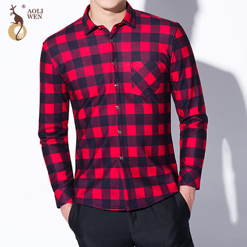 2017 Fashion Men's Winter Warm Plush Slim Shirts 24 Colors Striped Plaid Print Blouse For Men Casual Retro Clothes Size M-5Xl