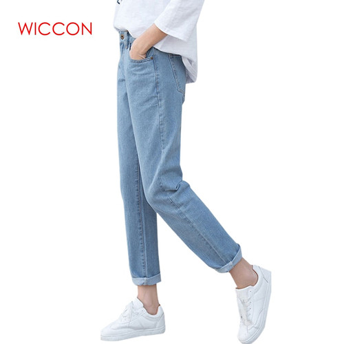 Vintage Boyfriend Jeans For Women High Waist Loose Trousers jeans Woman Casual Preppy Style Clothes Woman Denim Harem Pants