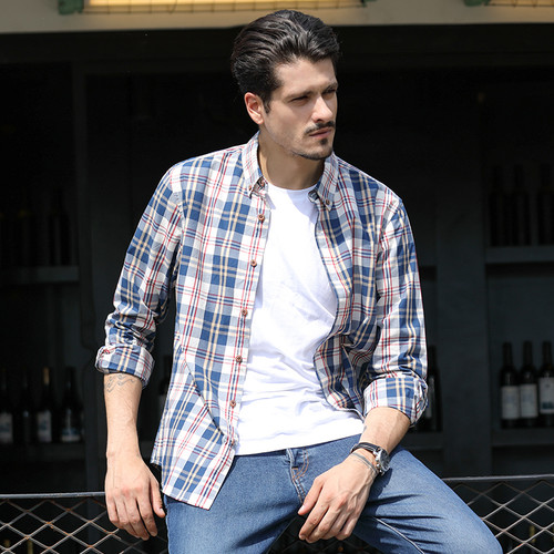 Langmeng new 2020 autumn spring mens plaid casual shirts long sleeve 100% cotton dress shirt men retro style camiseta masculina