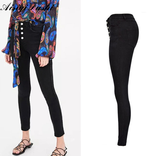 Black Jeans Woman High Waist Push Up Stretch Denim Ladies Jeans Black Women's Trousers Skinny Pants Jeans Female feminino 2018