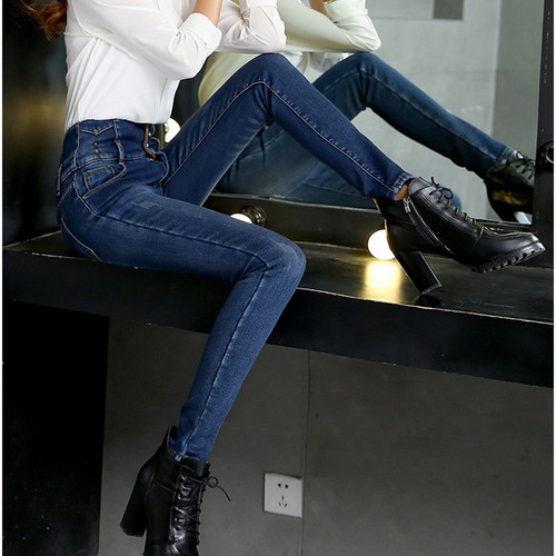 Women Jeans 2018 Plus Size 34 High Waist Pants Stretch Female Denim Blue Warm Fleece Jeans Trousers Leggings Winter Mom Jeans