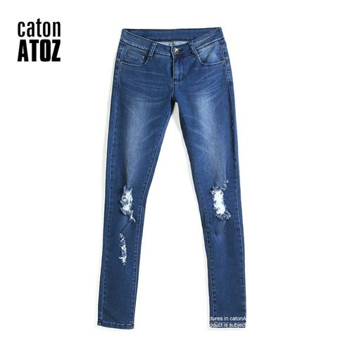 catonATOZ 1884 New Hot Fashion Ladies Cotton Denim Pants Stretch Womens Bleach Ripped Knees Skinny Jeans Denim Jeans For Female