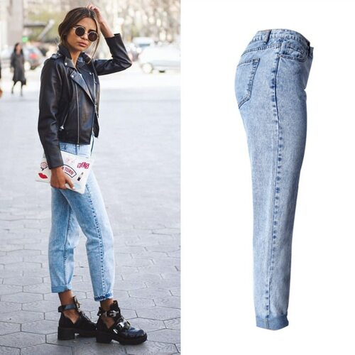 2017 High Quality Women Long Jeans High Waist 100% Cotton Snow Wash Type Denim Jeans Vintage Loose Straight Denim Jeans Trousers