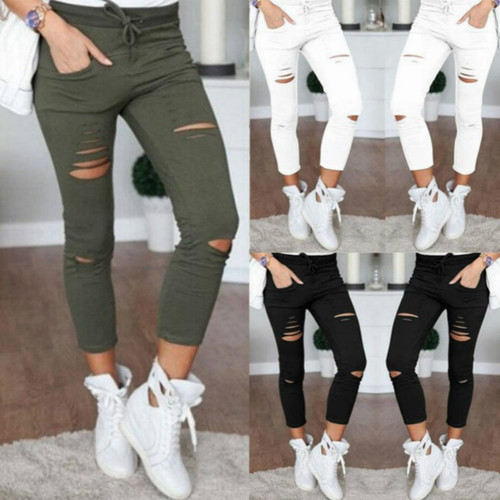 2020 Summer Skinny Jeans Women Denim Pants Holes Destroyed Knee Pencil Pants Casual Trousers Black White Stretch Ripped Jeans