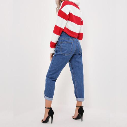 2018 New Vintage Boyfriend Fit High Waist Jeans Elastic Femme Women Dark Wash Basic Mom Skinny Jeans Loose Trouses