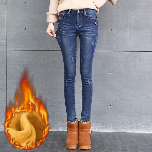 CTRLCITY Winter Jeans Female High Waist Denim Pants Warm Trousers Femme Slim Thick Stretch Fleece Pencil Pants Skinny Jeans